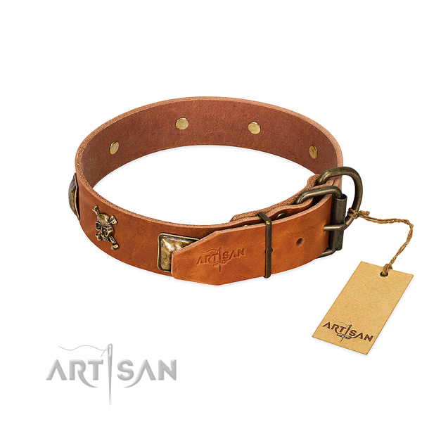 Significant full grain genuine leather dog collar with rust-proof studs