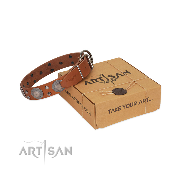 Fashionable adornments on natural leather collar for easy wearing your canine