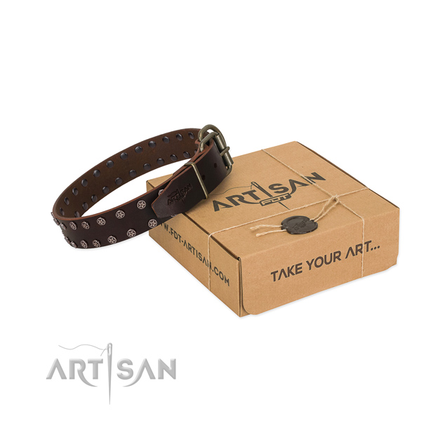 Top rate full grain natural leather dog collar with studs for your handsome doggie