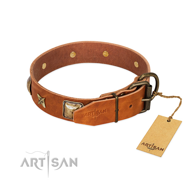 Leather dog collar with rust resistant traditional buckle and studs
