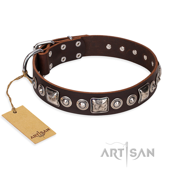 Full grain genuine leather dog collar made of flexible material with rust-proof traditional buckle