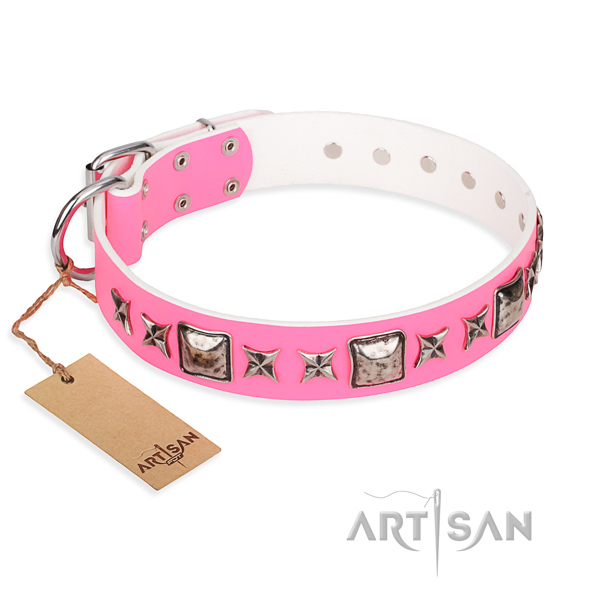Full grain genuine leather dog collar made of top rate material with strong hardware