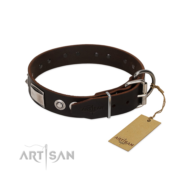 Extraordinary full grain natural leather collar for your doggie