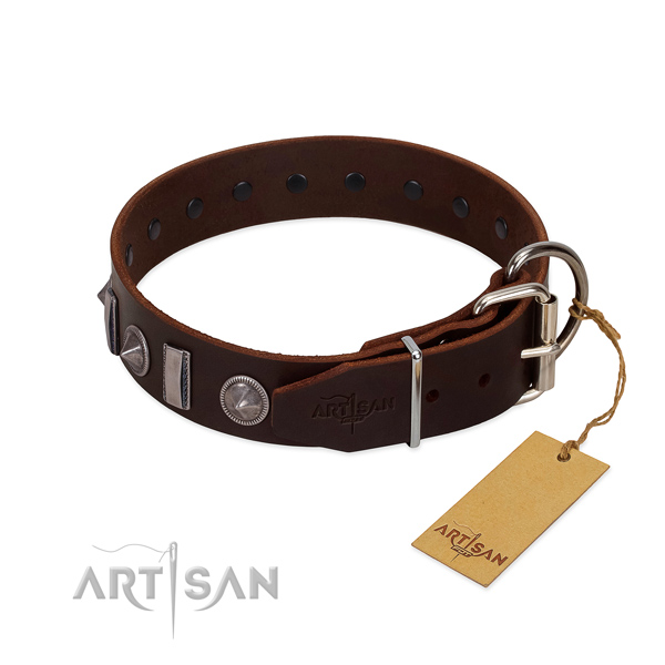 Best quality natural leather dog collar with embellishments for your impressive dog