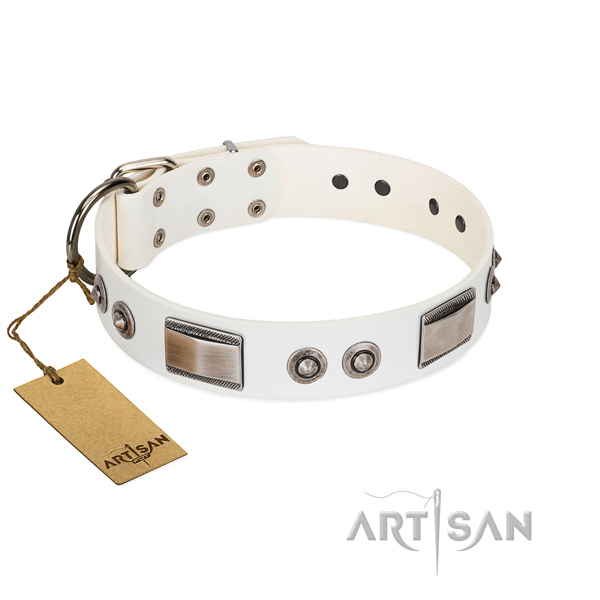Adjustable dog collar of full grain natural leather with embellishments