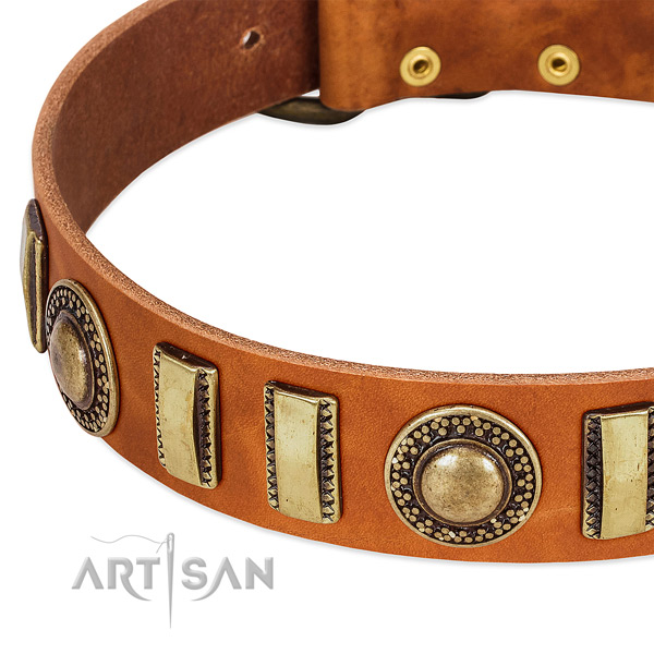 Soft to touch full grain leather dog collar with rust resistant fittings