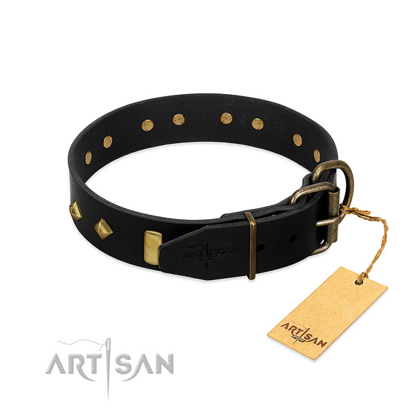 Flexible full grain natural leather dog collar with fashionable decorations