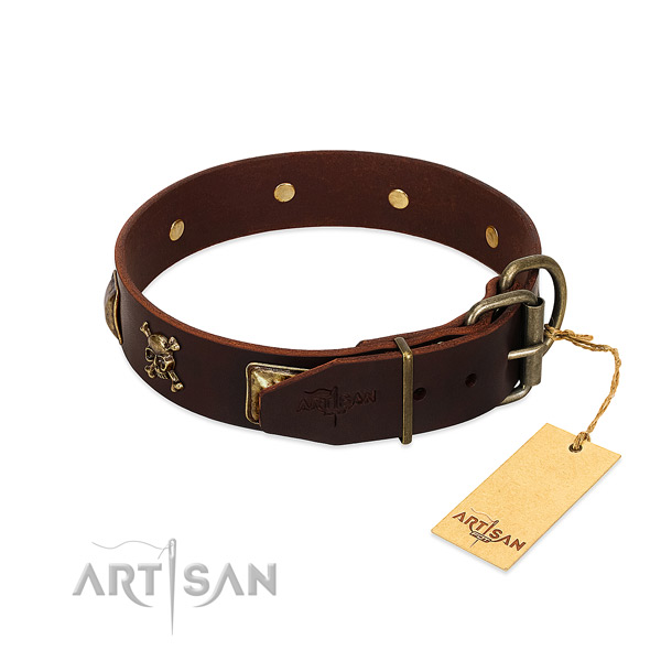 Flexible full grain leather dog collar with extraordinary adornments