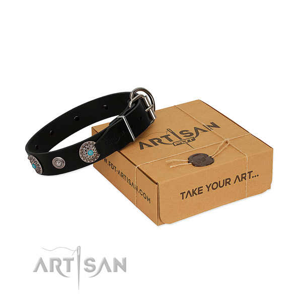 Comfortable wearing gentle to touch leather dog collar with adornments