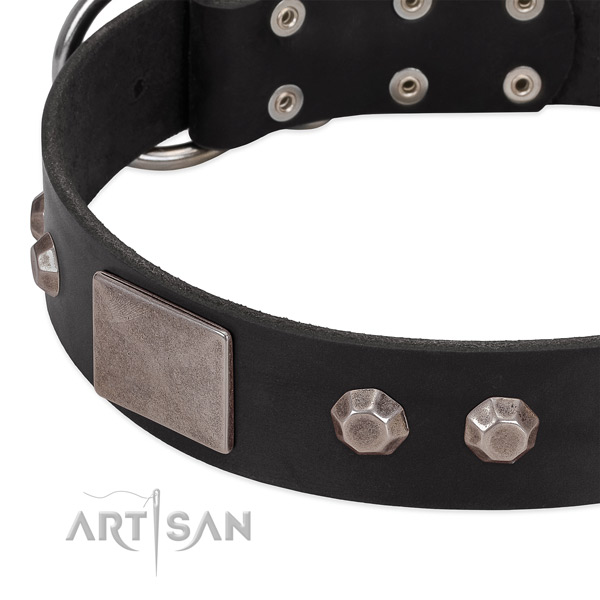 Daily walking soft to touch genuine leather dog collar