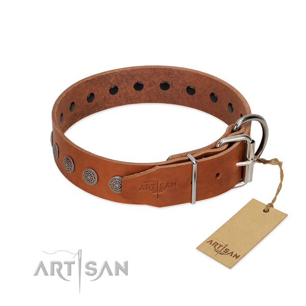 Inimitable embellishments on genuine leather collar for everyday use your pet