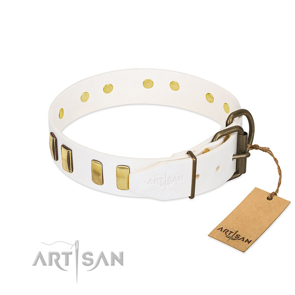 Soft genuine leather dog collar with reliable buckle