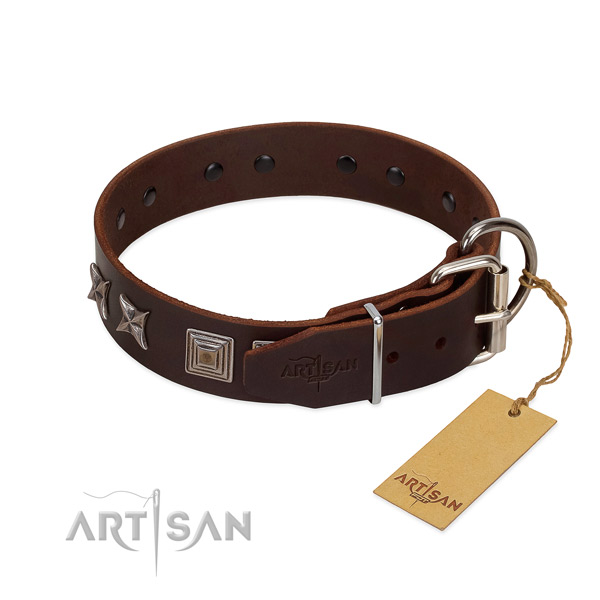 Full grain leather dog collar crafted of soft to touch material