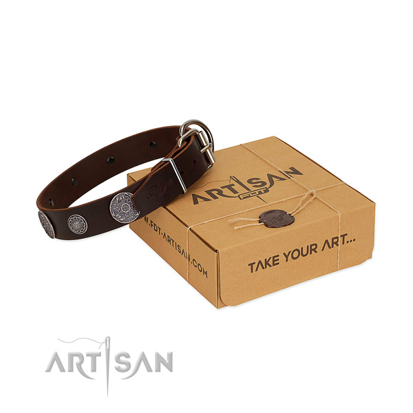 Comfortable wearing reliable full grain genuine leather dog collar with decorations