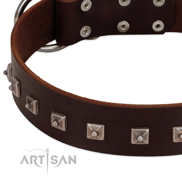 Soft to touch natural leather dog collar with exquisite studs