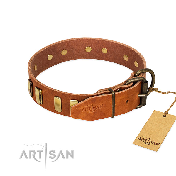 Soft full grain leather dog collar with rust resistant hardware