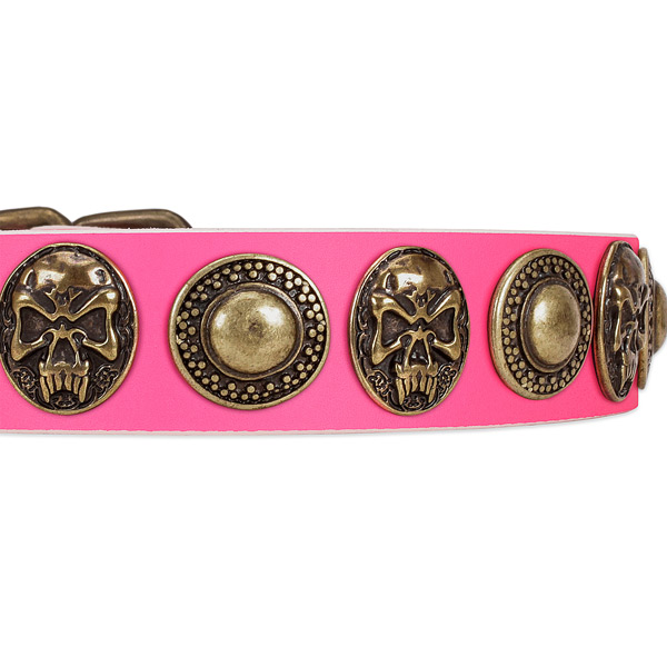 Reliable traditional buckle on full grain leather dog collar for your pet