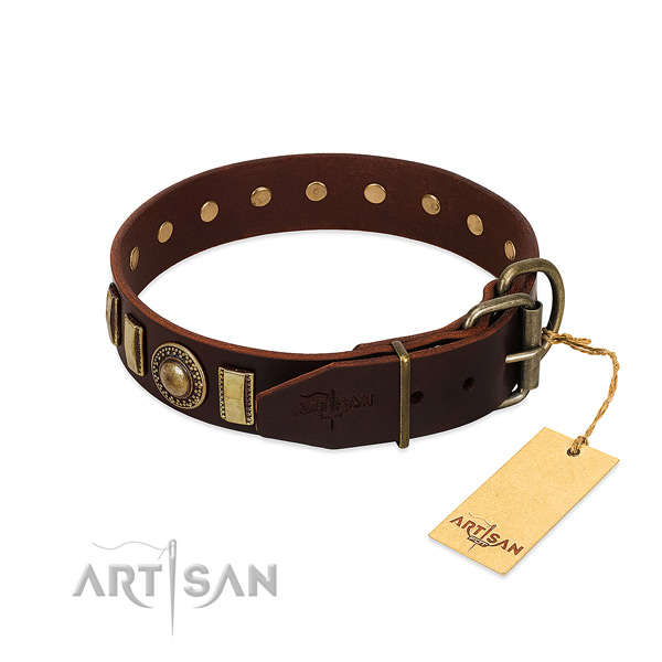 Inimitable natural leather dog collar with corrosion proof hardware