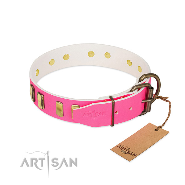 Top notch natural leather dog collar with corrosion proof D-ring