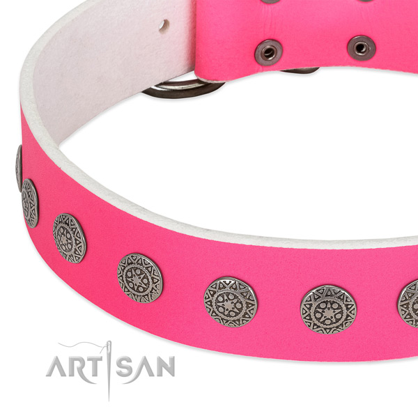 Impressive full grain genuine leather collar with embellishments for your pet