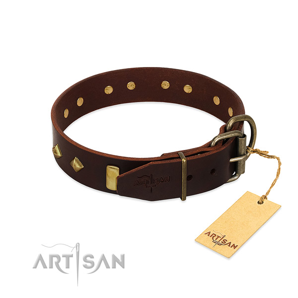 Natural leather dog collar with durable traditional buckle for stylish walking