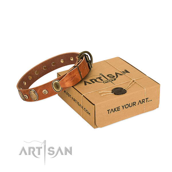 Top rate natural leather collar handmade for your pet