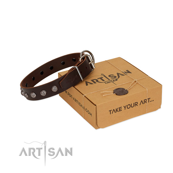 Comfortable wearing soft to touch genuine leather dog collar with adornments