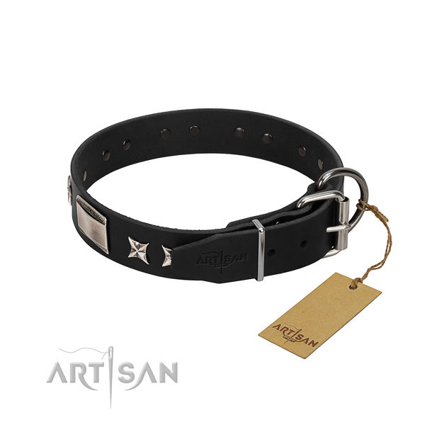 Soft to touch full grain leather dog collar with durable buckle