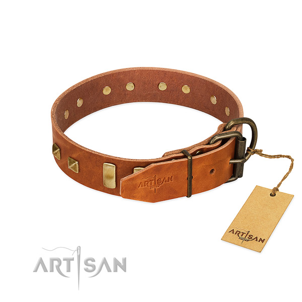 Quality full grain genuine leather dog collar with corrosion proof D-ring
