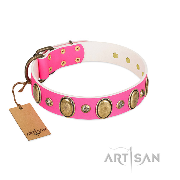 Genuine leather dog collar of soft to touch material with unique decorations