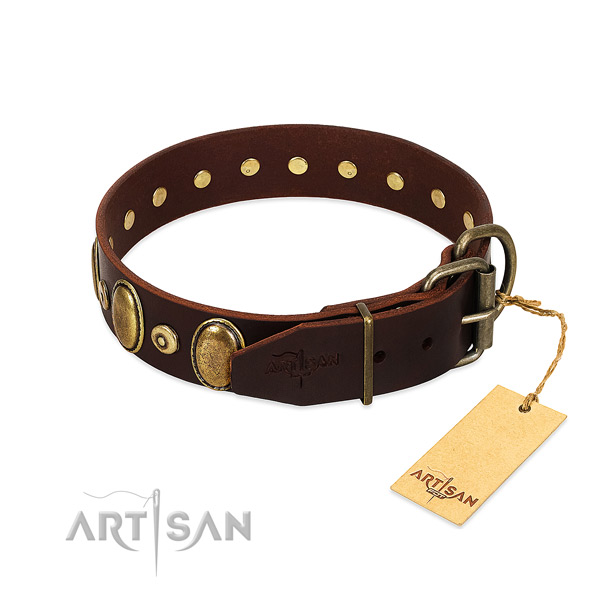 Genuine leather dog collar with durable decorations