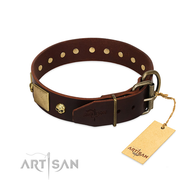 Soft to touch full grain genuine leather dog collar with rust resistant studs