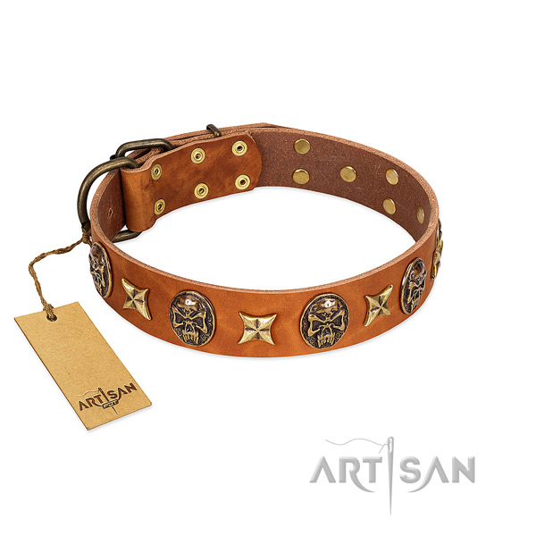 Stylish design natural genuine leather collar for your pet
