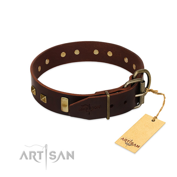 Best quality natural leather dog collar with rust-proof fittings