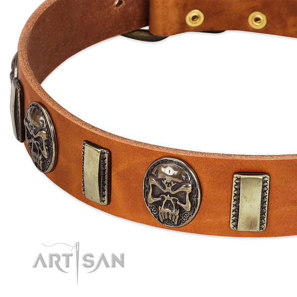 Rust resistant fittings on full grain natural leather dog collar for your canine
