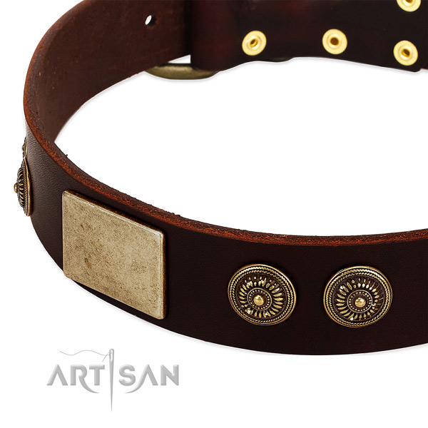 Durable fittings on full grain genuine leather dog collar for your dog