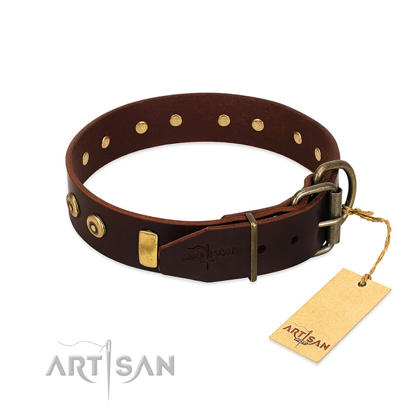 Fashionable embellished full grain leather dog collar of reliable material