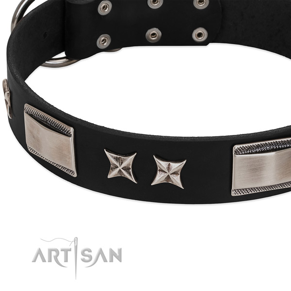 Soft full grain genuine leather dog collar with reliable D-ring