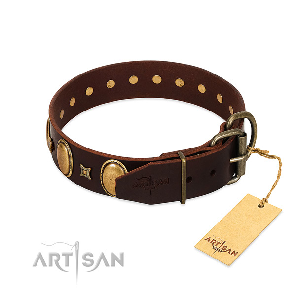 Strong full grain leather collar created for your pet