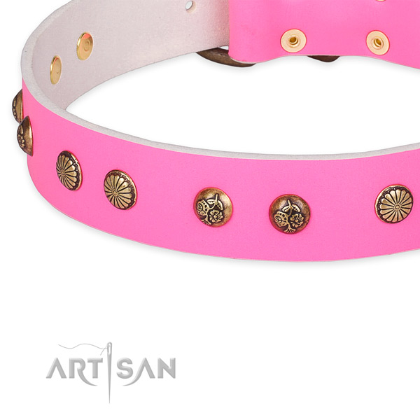 Designer full grain natural leather collar for your beautiful doggie