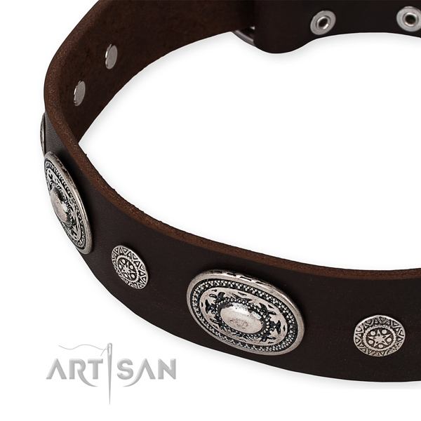 High quality natural genuine leather dog collar created for your impressive pet