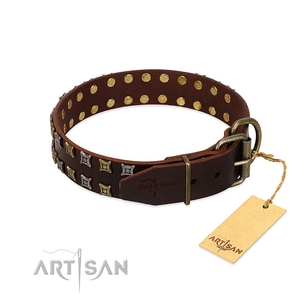 Gentle to touch leather dog collar made for your dog