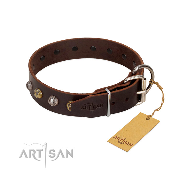 Adjustable natural leather dog collar with corrosion proof traditional buckle