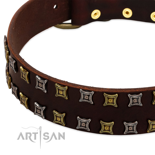 Durable full grain genuine leather dog collar for your lovely doggie