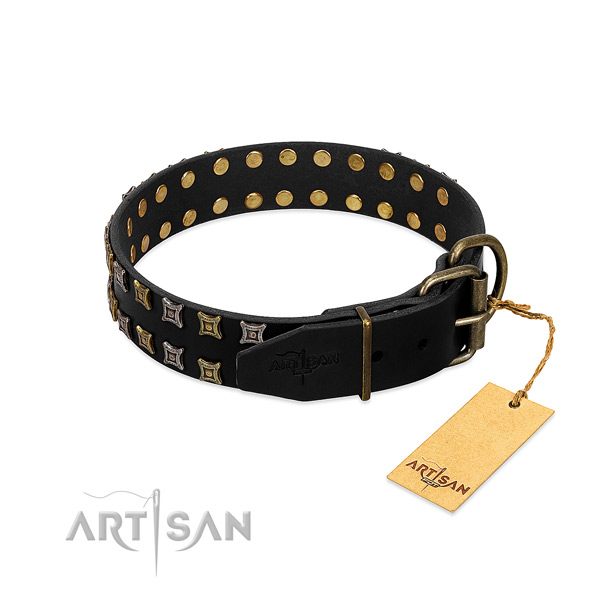 Flexible full grain leather dog collar handcrafted for your canine