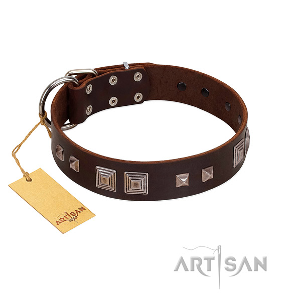 Reliable traditional buckle on full grain genuine leather dog collar for daily use