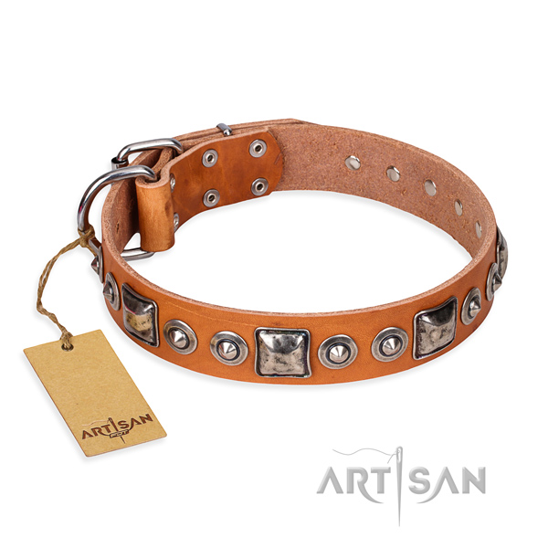 Genuine leather dog collar made of best quality material with corrosion resistant hardware