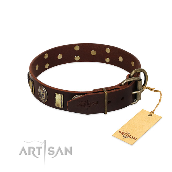 Natural genuine leather dog collar with rust resistant hardware and decorations