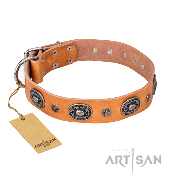 Strong natural genuine leather collar handmade for your canine
