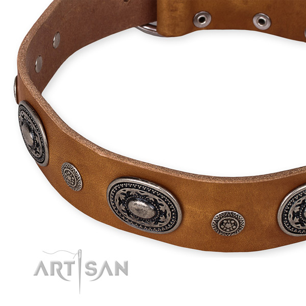 Reliable leather dog collar handmade for your lovely dog